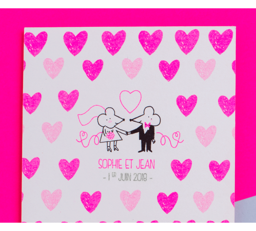 Carte RSVP - Chat Chat Land rose fluo