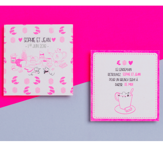 Carton brunch/dîner - Chat Chat Land rose fluo