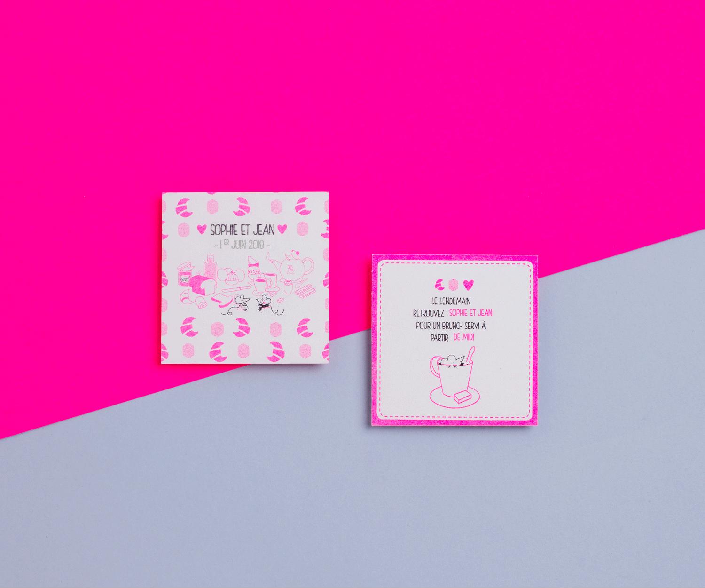 Carton brunch/dîner - Chat Chat Land rose fluo
