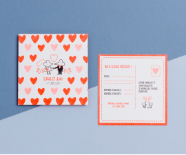 Carte RSVP - Chat Chat Land corail fluo